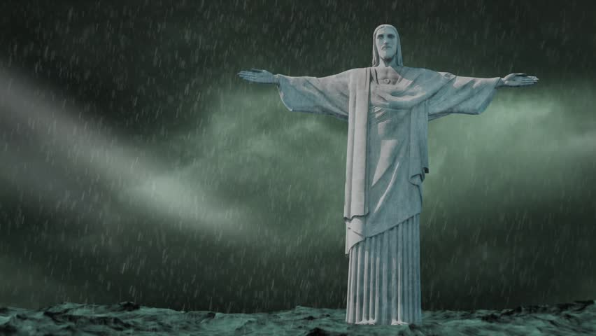 Statue of Jesus standing on rough water with a storm raging and the storm eventually clearing - HD stock video clip