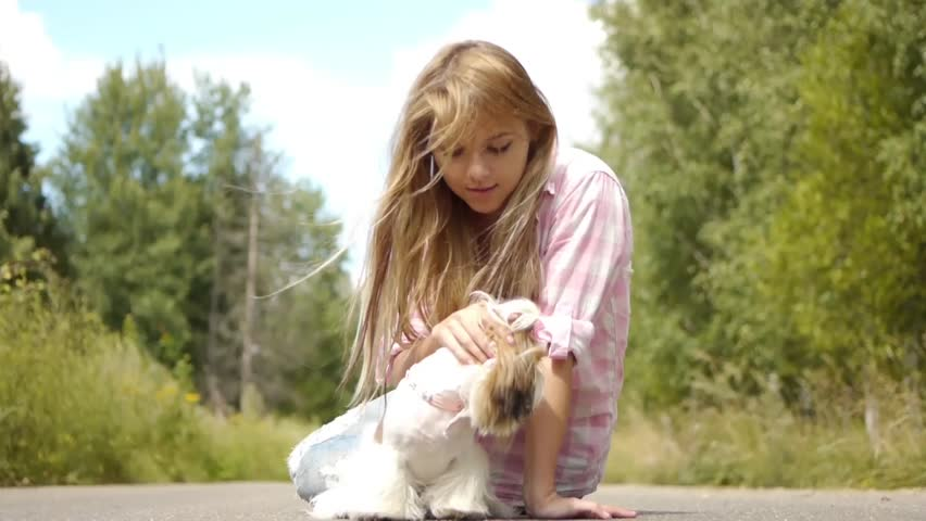 Portrait of pretty young smiling woman holding small fluffy dog, against background of summer green park - HD stock video clip