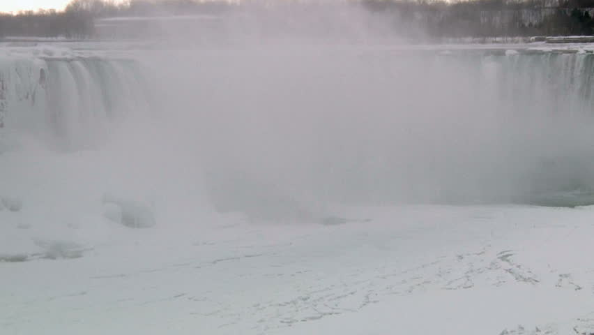 Niagara Falls Snow Covered and Frozen In Winter - HD stock video clip