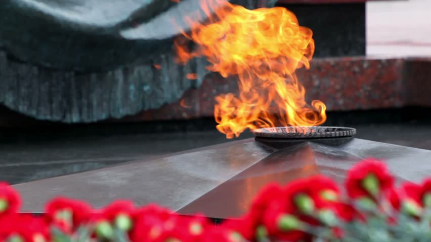 Red flowers lay near eternal fire on memorial grave of Unknown soldier of Second World War, closeup view - HD stock footage clip