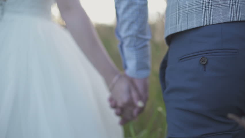 Newlyweds in a field at sunset | Shutterstock HD Video #17377600