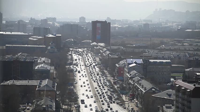 Smoggy urban avenue/the industrial city of Prospect/Gloomy city Hidden in smoke | Shutterstock HD Video #17394943