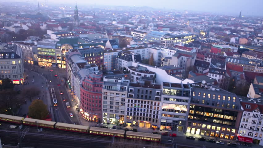 Time lapse of Berlin city at Hackescher Markt from dawn to night