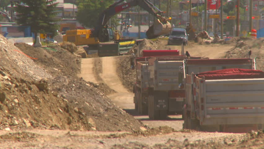 CALGARY, CANADA - JULY 6, 2010: Work proceeds on construction of light rail transit underground station on July 6, 2010 in Calgary, Canada - HD stock footage clip