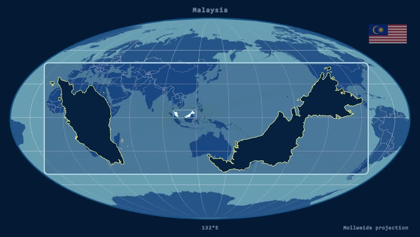 Zoomed-in view of a Malaysia outline with perspective lines against a global admin map in the Mollweide projection | Shutterstock HD Video #17462344