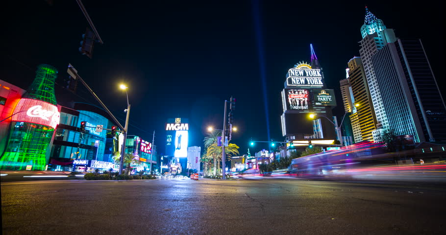 Las Vegas, Nevada, USA - traffic at illuminated Las Vegas Strip with New York New York Resort & Casino and MGM Grand Resort & Casino - Timelapse without motion - October 2014 | Shutterstock HD Video #17473288