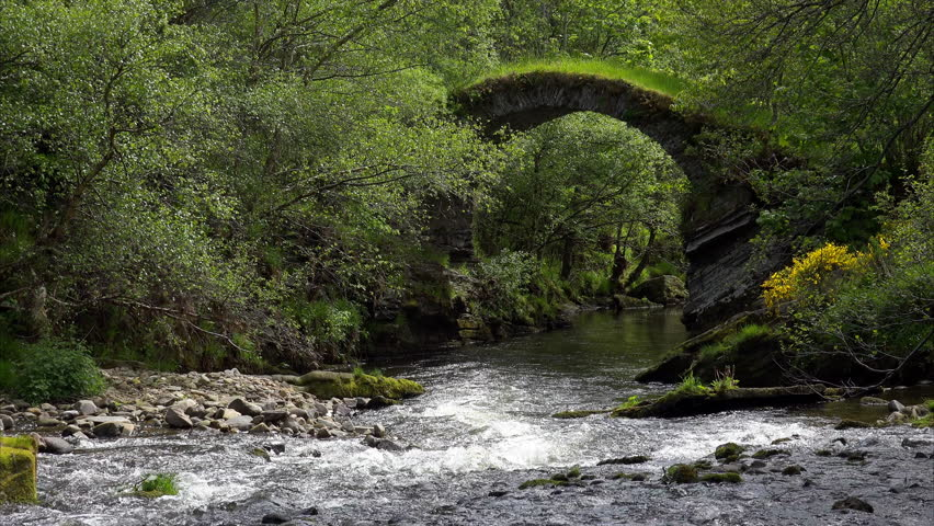 The remains of the arches from The Old Bridge of Livet that crosses the river Livet in the Scottish Highlands.UK. | Shutterstock HD Video #17475889