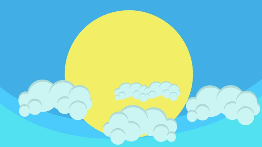 Illustrated Cartoon Clouds On A Bright Blue Sky Animation ...
