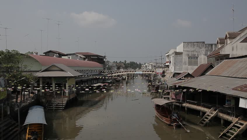 Empty Floating market in Thailand - HD stock footage clip