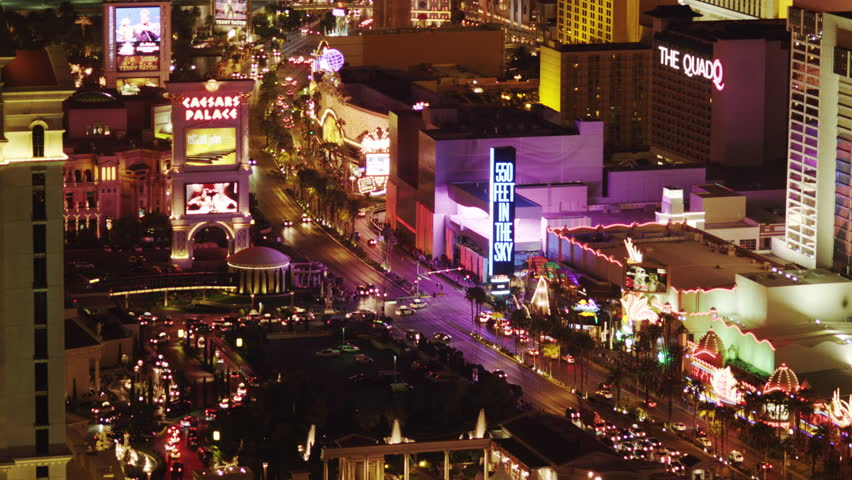 LAS VEGAS, UNITED STATES - APRIL 10, 2014: Elevated View of Casinos at the Las Vegas Strip | Shutterstock HD Video #17607586