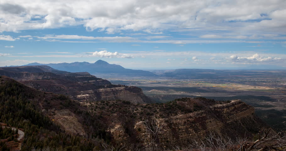 Mesa Verde National Park, Colorado, USA - view from Mesa Verde Park Point Overlook facing north at sunny day with moving clouds - Timelapse with zoom out - October 2014