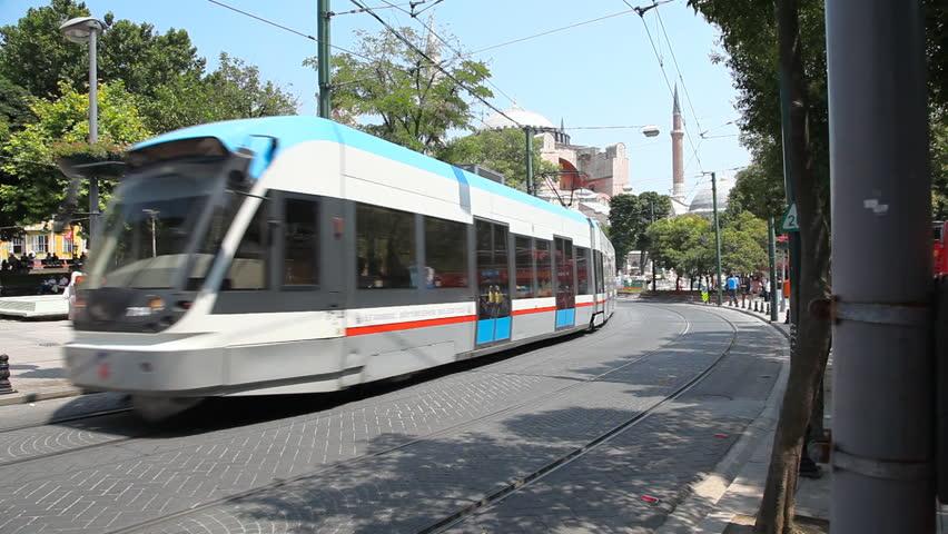 ISTANBUL, TURKEY - JULY 31: Rapid tram on Divan yolu street in Sultanahmet district on July 31 2011 in Istanbul.