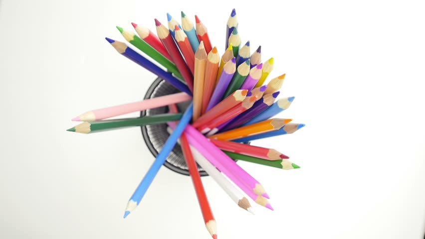 Hands taking color pencils from the metall basket. Close up.     Shutterstock HD Video #17764438