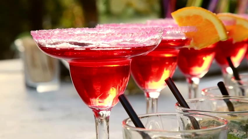 Decoration cocktail with slice of orange
