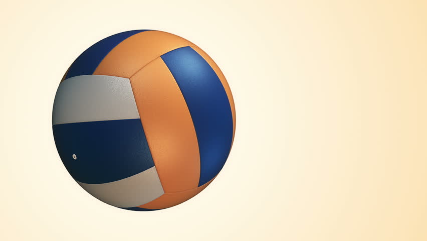 Animation of slow rotation ball for volleyball game. View of close-up with realistic texture and light. Animation of seamless loop. - HD stock video clip