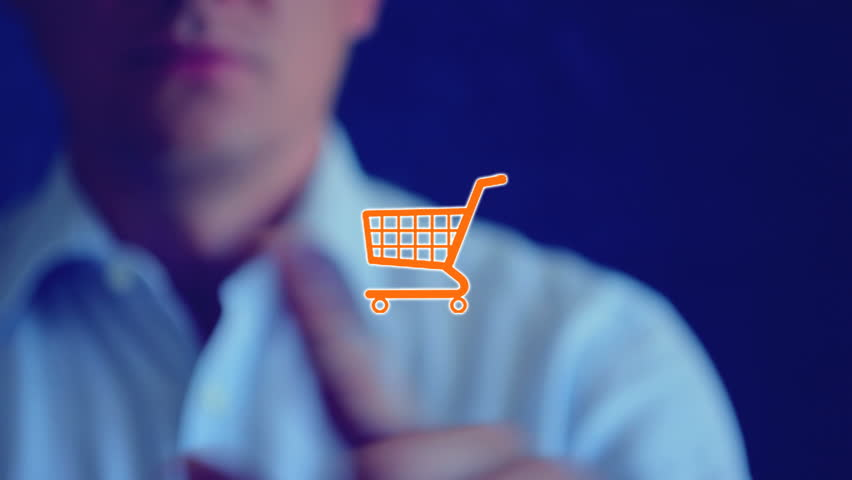 """Cart icon. Web elements for online store, orange button """"Cart"""". Web icon and template for online shopping, web store, online business theme. Person touched a finger to the screen and click icon cart - HD stock footage clip"""