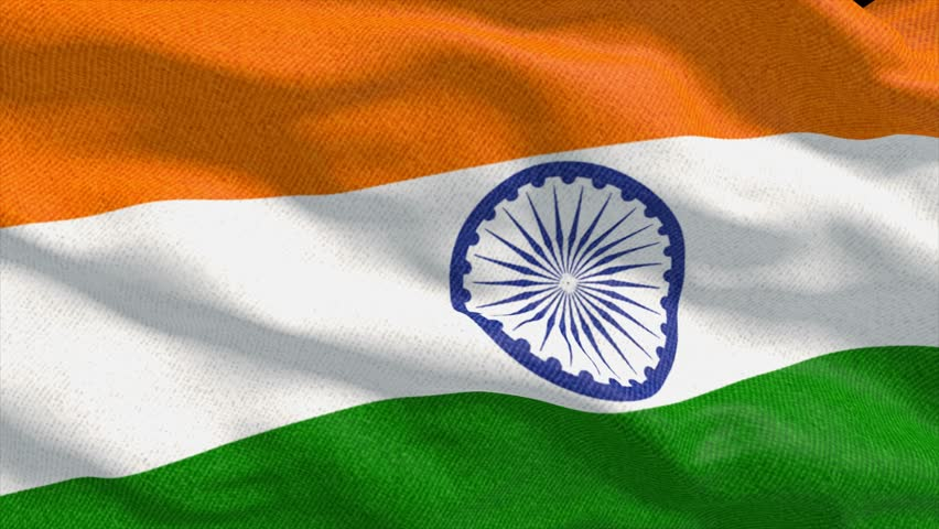 Indian Flag Animated: Rotating Earth With Rippling Indian Flag Animation Stock