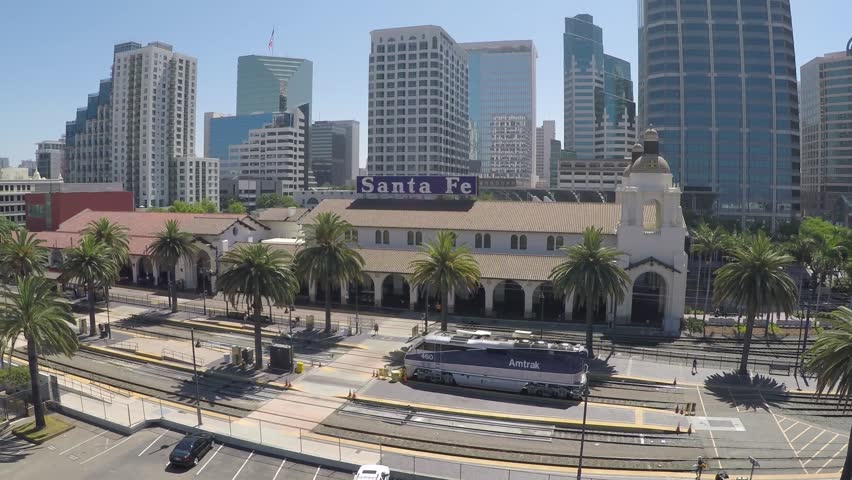 San Diego train station with buildings in the background. | Shutterstock HD Video #17911291