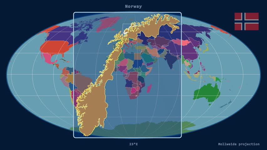 Zoomed-in view of a Norway outline with perspective lines against a global admin map in the Mollweide projection | Shutterstock HD Video #17929291