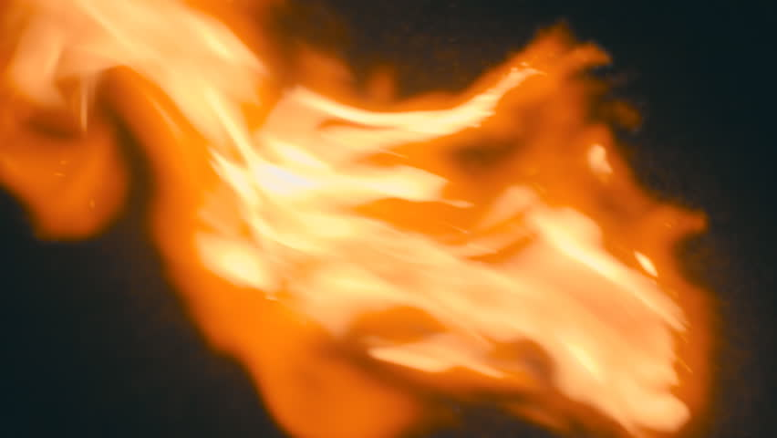 Spurts of flame  on a black background. S-log - High Dynamic Range. Slow motion, high speed camera, 250fps - HD stock footage clip