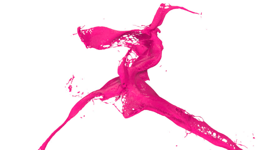 pink paint splashes collide in slow motion, isolated on white (FULL HD)