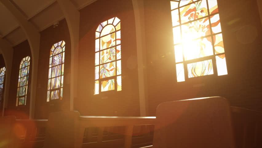 Sunlight Through Church Stain-glass Window
