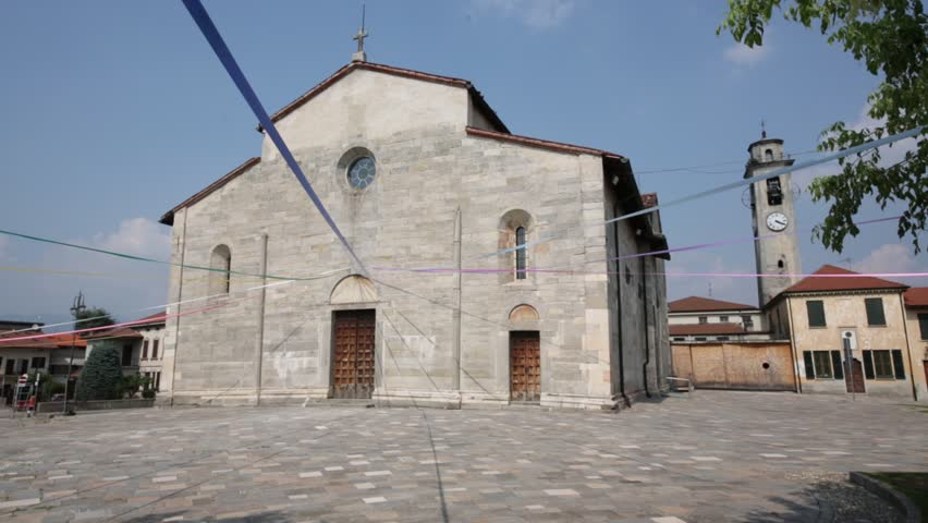 in italy brebbia  ancient   religion  building    for catholic and clock tower - HD stock footage clip