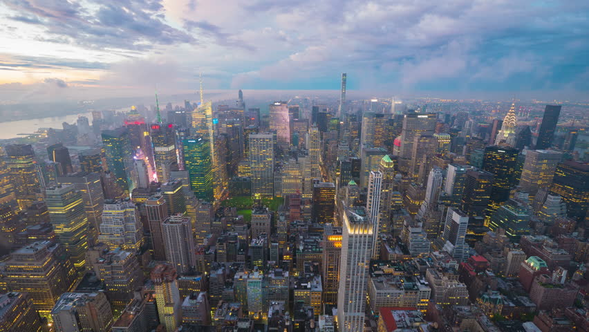 New York from The Empire State Building at sunset, 4k timelapse | Shutterstock HD Video #18049243