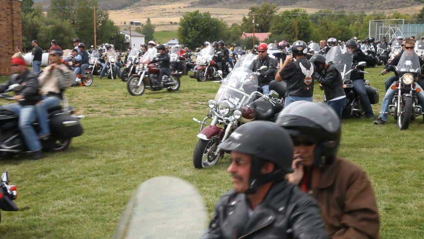 LOGAN UTAH CIRCA AUG 2009: Motorcycle riders ride during annual Ride For The Fallen in respect for soldiers killed and wounded in Iraq war Logan Utah. Scholarship for Utah State University students.