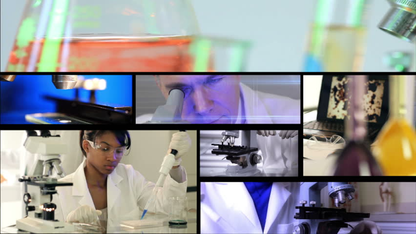 A montage or grouping of scenes with laboratory equipment and personnel in action. - HD stock footage clip