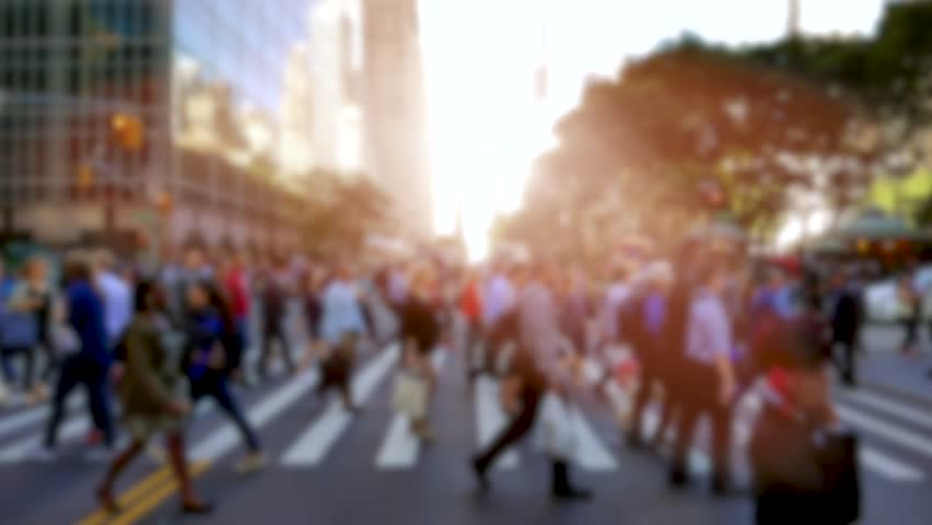 People walking in the city on crowded street. urban scenery of unrecognizable persons commuting to work in business district. new york metropolis scene background | Shutterstock HD Video #18131512