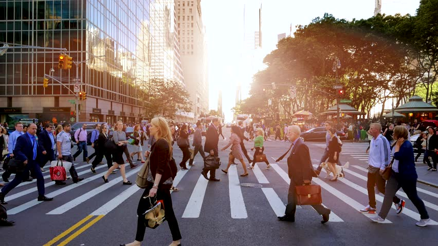 NEW YORK - MAY: 2016, pedestrians walking on crowded city street. people commuting background | Shutterstock HD Video #18146785