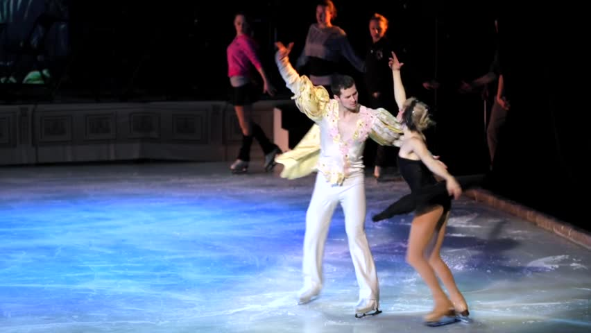 """MOSCOW, RUSSIA - JANUARY 12, 2016: Full rehearsal of theater of ice miniatures perfomance anniversary program """"We are 30"""" under direction of Igor Bobrin. Actors dance """"Swan lake"""" on ice"""