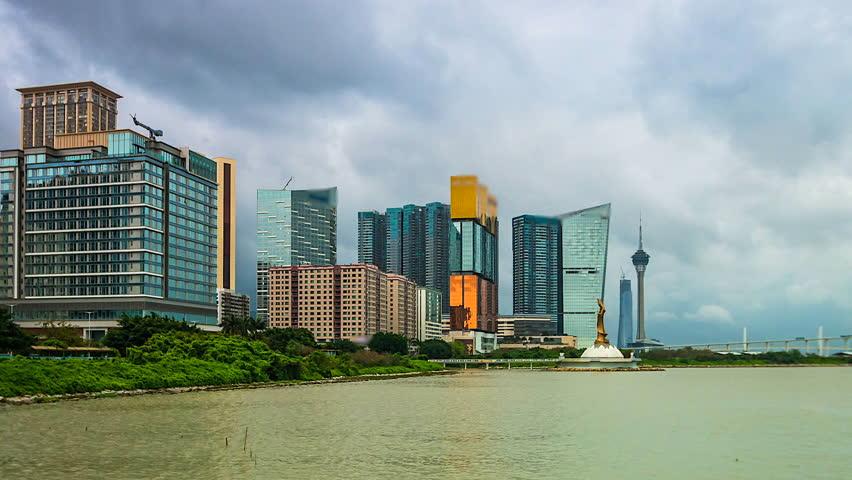 4K. Time lapse Macau cityscape