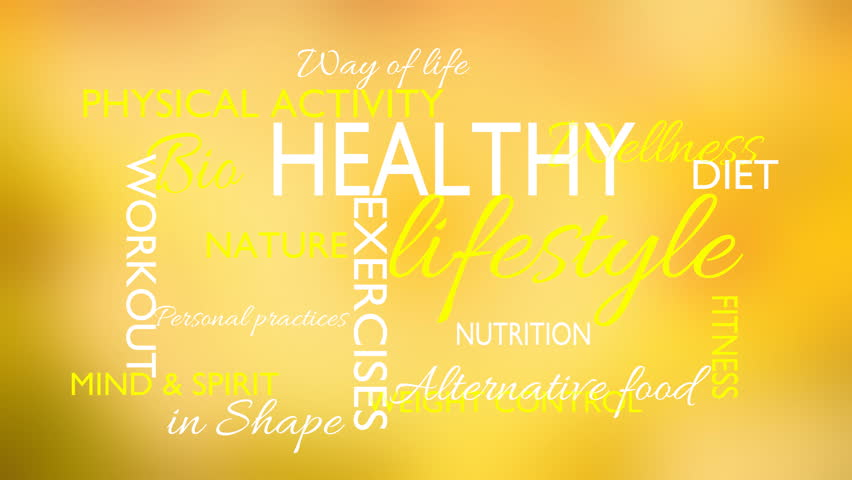 Healthy lifestyle word tag cloud animation, yellow background, loop able, 3D rendering, UHD
