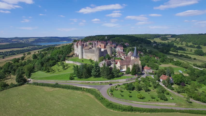 France, Burgundy, Cote d'Or, Aerial view of Chateauneuf en Auxois, or Chateauneuf, labelled Les Plus Beaux Villages de France (The Most beautiful Villages of France), 4K, UHD (3840X2160)