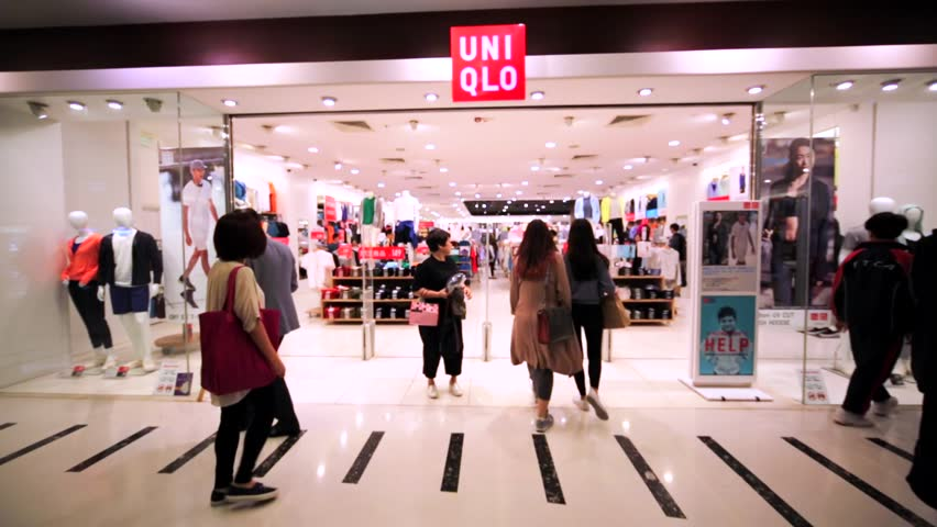 HONG KONG, CHINA - APRIL 2, 2016: Uniqlo store in Hong Kong mall. Uniqlo Co., Ltd. is a Japanese casual wear designer, manufacturer and retailer of the latest essentials for women, men, kids & babies.