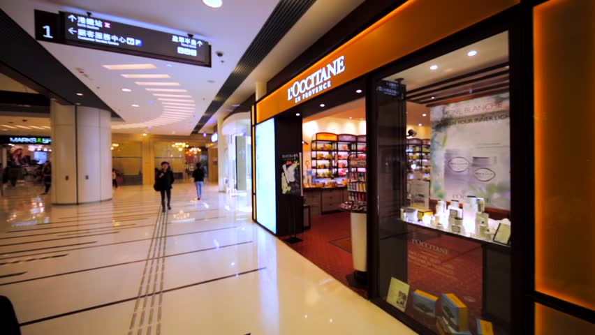 HONG KONG, CHINA - APRIL 2, 2016: L'Occitane store in Hong Kong mall. L'Occitane produces natural cosmetics for men and women since 1976. Now it has over 2000 stores all over the world.