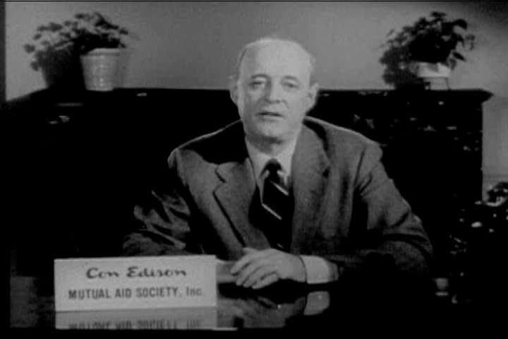 Secretary of the Con Edison Mutual Aid Society gives a television speech about the importance of the Red Cross to American citizens in the 1940s, and urges everyone to give generously. (1940s)