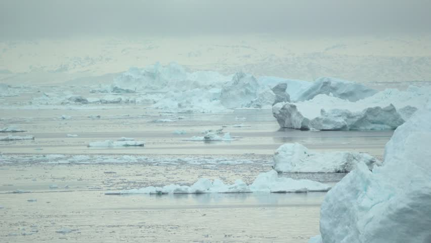 Glaciers are moving on the arctic ocean at Ilulissat, Greenland