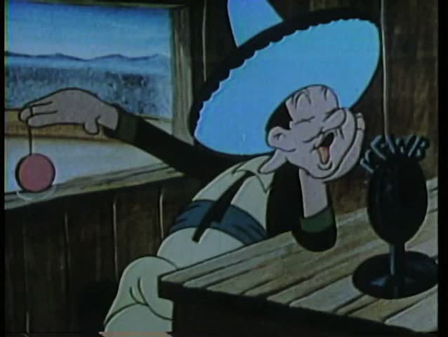 Cartoon of an announcer playing with a yo-yo during a broadcast - SD stock footage clip