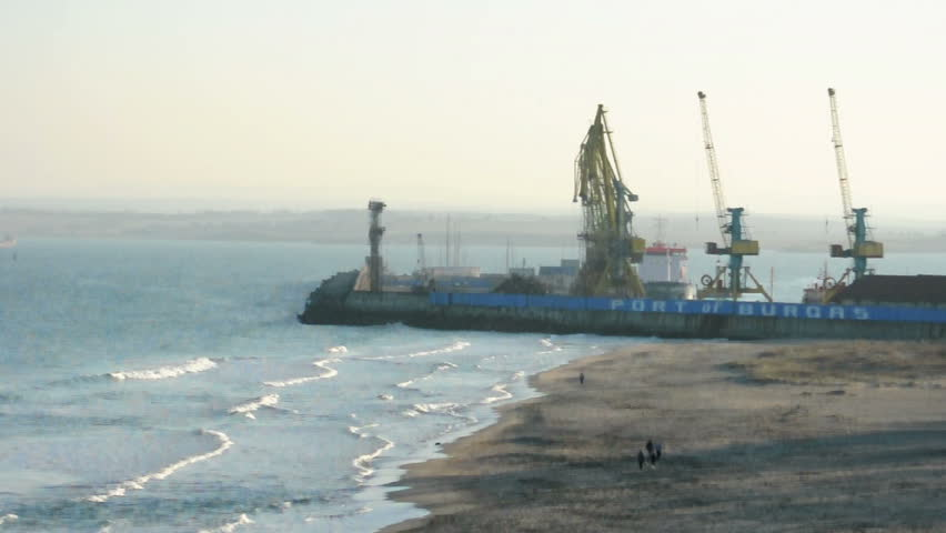 Commercial port cranes. Cranes in a port - HD stock footage clip