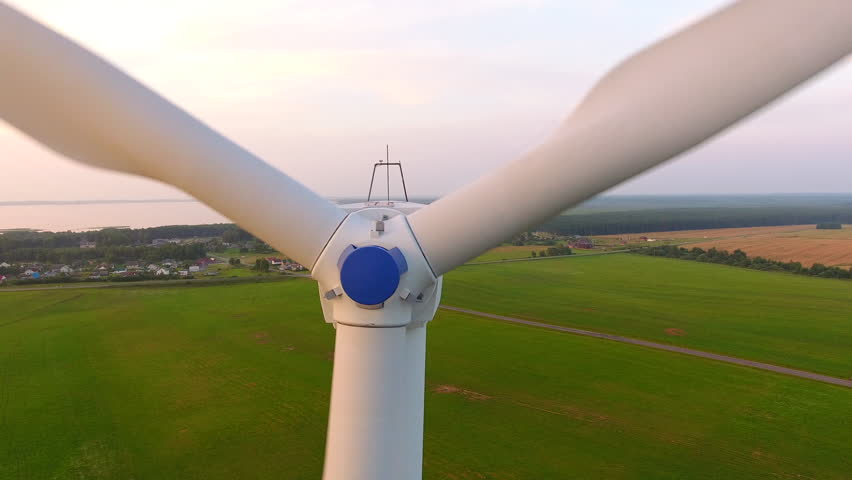 Aerial View. Beautiful windmill turbines sunset , wind energy turbines . Aerial drone shot. 4K 30fps | Shutterstock HD Video #18424408