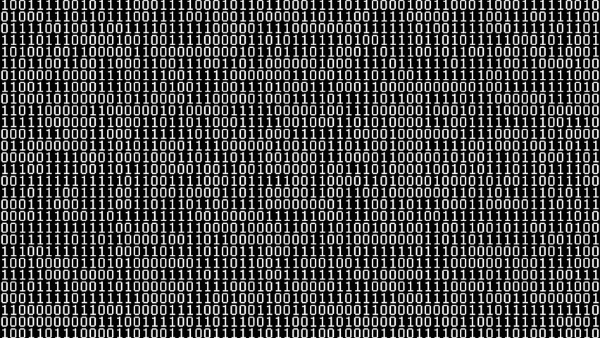 Binary Digits Screensaver (60fps). Full screen saver black and white graphic loop of random binary data cycling on and off 1s and 0s. | Shutterstock HD Video #18451966
