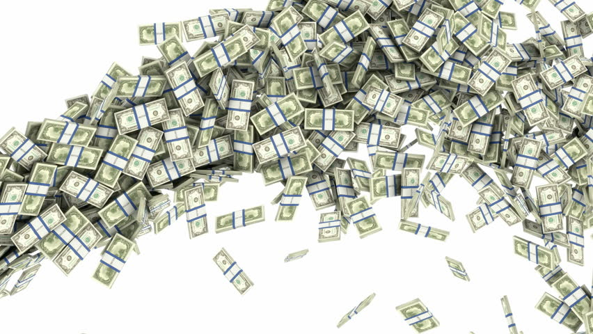US dollar bundles flow with slow motion. Wealth and money