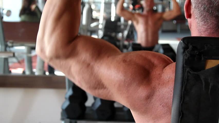 bodybuilder training - HD stock footage clip