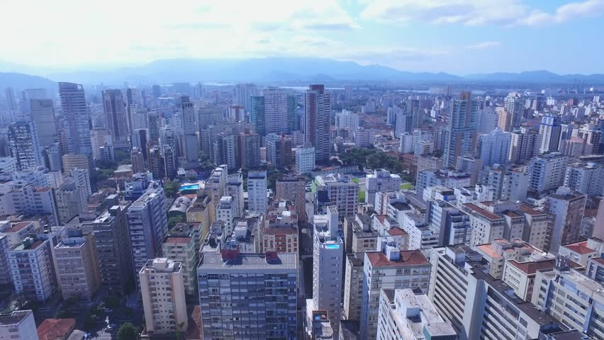 Aerial footage of the city of Santos in Sao Paulo state in Brazil. July, 2016 | Shutterstock HD Video #18494671