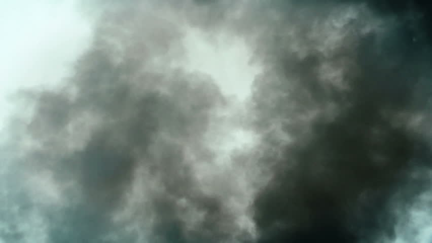 Dark smoke and debris, slow motion