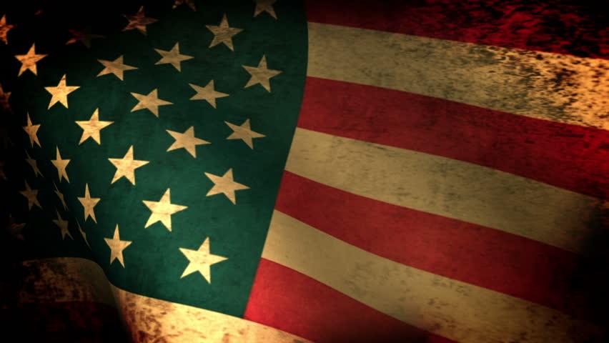 American Flag Waving, grunge - HD stock video clip