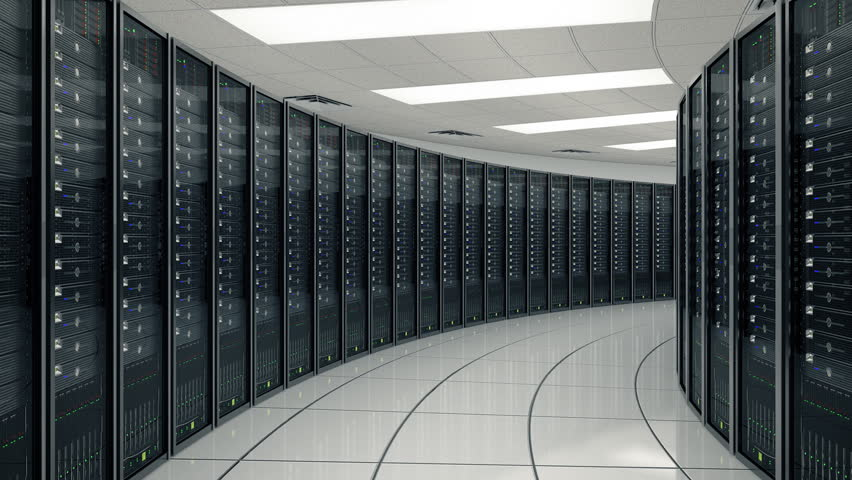 Seamlessly looping animation of rack servers in data center
